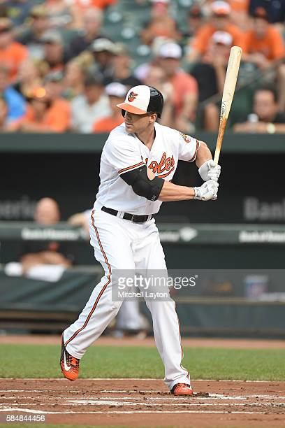 Chris Davis of the Baltimore Orioles prepares for a pitch during a baseball game against the Colorado Rockies at Oriole Park at Camden Yards on July...