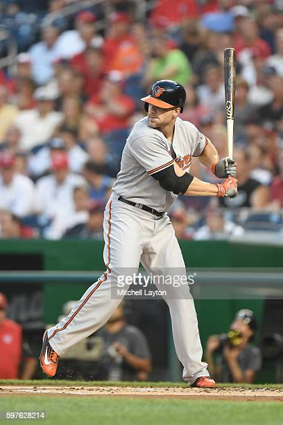 Chris Davis of the Baltimore Orioles prepares for a pitch during a baseball game against the the Washington Nationals at Nationals Park on August 25...