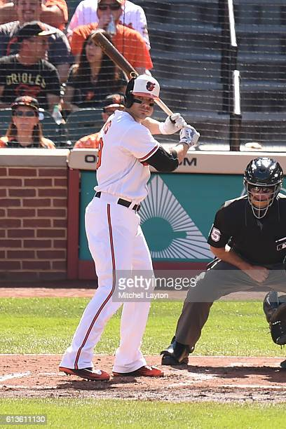 Chris Davis of the Baltimore Orioles prepares for a pitch during a baseball game against the Arizona Diamondbacks at Oriole Park at Camden Yards on...