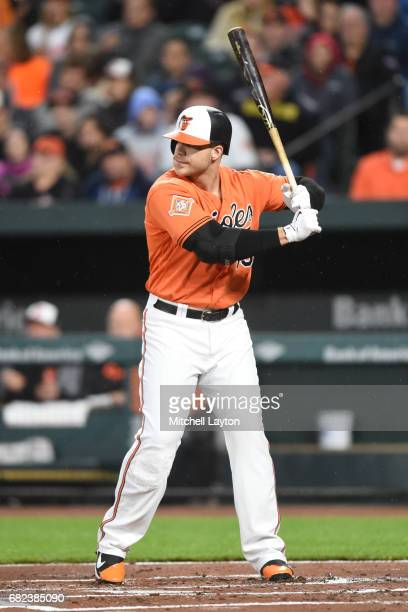 Chris Davis of the Baltimore Orioles prepares for a pitch during a baseball game against the Chicago White Sox at Oriole Park at Camden Yards on May...