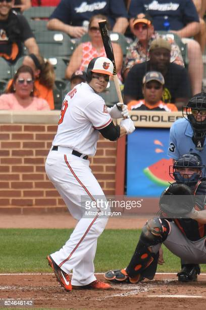 Chris Davis of the Baltimore Orioles prepares for a pitch during a baseball game against the Houston Astros at Oriole Park at Camden Yards on July 23...