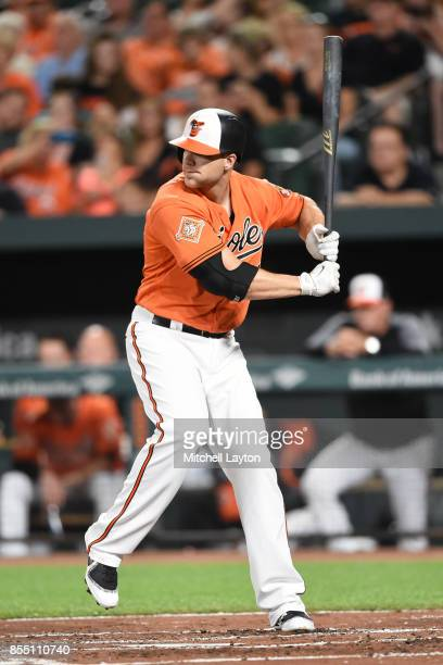Chris Davis of the Baltimore Orioles prepares for a pitch during a baseball game against the Tampa Bay Rays at Oriole Park at Camden Yards on...