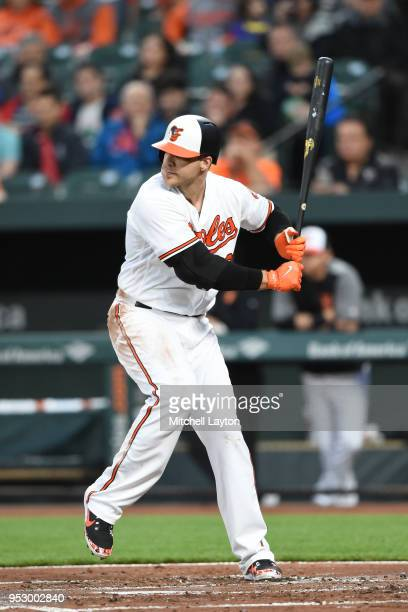 Chris Davis of the Baltimore Orioles prepares for a pitch during a baseball game against the Tampa Bay Rays at Oriole Park at Camden Yards on April...