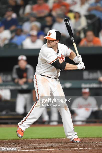 Chris Davis of the Baltimore Orioles prepares for a pitch during a baseball game against the Kansas City Royals at Oriole Park at Camden on May 10...