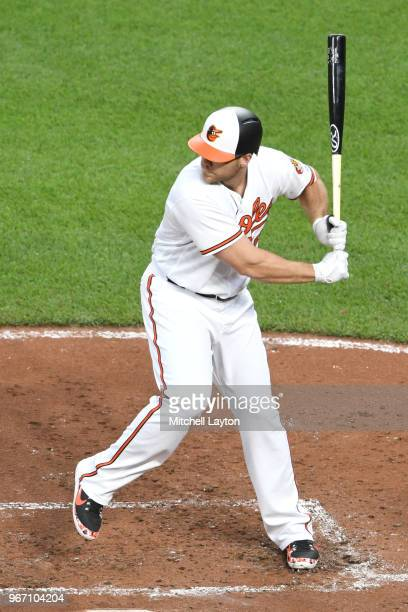 Chris Davis of the Baltimore Orioles prepares for a pitch during a baseball game against the Baltimore Orioles at Oriole Park at Camden Yards on May...