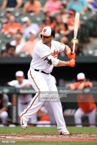 Chris Davis of the Baltimore Orioles prepares for a pitch during a baseball game against the Seattle Mariners at Oriole Park at Camden Yards on June...