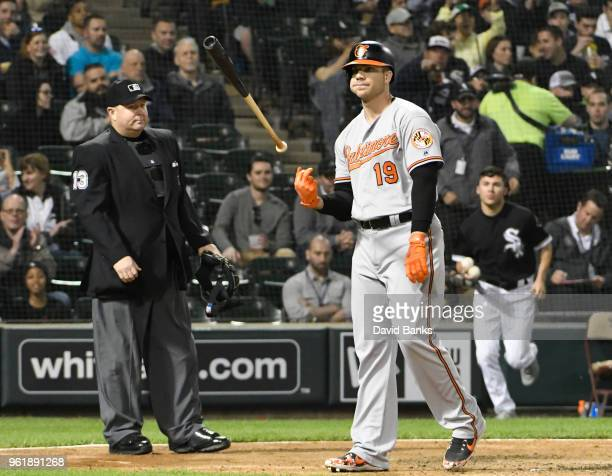 Chris Davis of the Baltimore Orioles reacts after being called out on strikes against the Chicago White Sox during the fifth inning on May 23 2018 at...