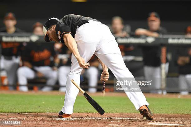Chris Davis of the Baltimore Orioles reacts after getting hit by a pitch during a baseball game against the Kansas City Royals at Oriole Park at...