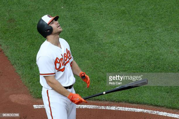 Chris Davis of the Baltimore Orioles reacts after striking out looking for the third out of the first inning against the Washington Nationals at...