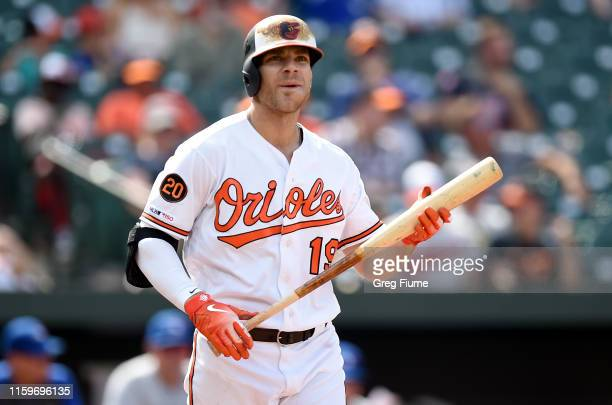 Chris Davis of the Baltimore Orioles reacts after striking out in the eighth inning against the Toronto Blue Jays at Oriole Park at Camden Yards on...