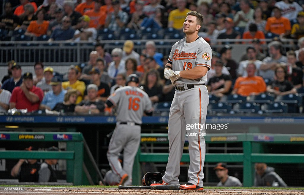 Chris Davis #19 of the Baltimore Orioles reacts after striking out in the first inning during the game against the Pittsburgh Pirates at PNC Park on September 26, 2017 in Pittsburgh, Pennsylvania.
