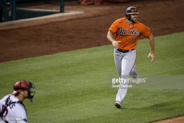 Chris Davis of the Baltimore Orioles scores a run against the Washington Nationals during the seventh inning at Nationals Park on July 21, 2020 in...