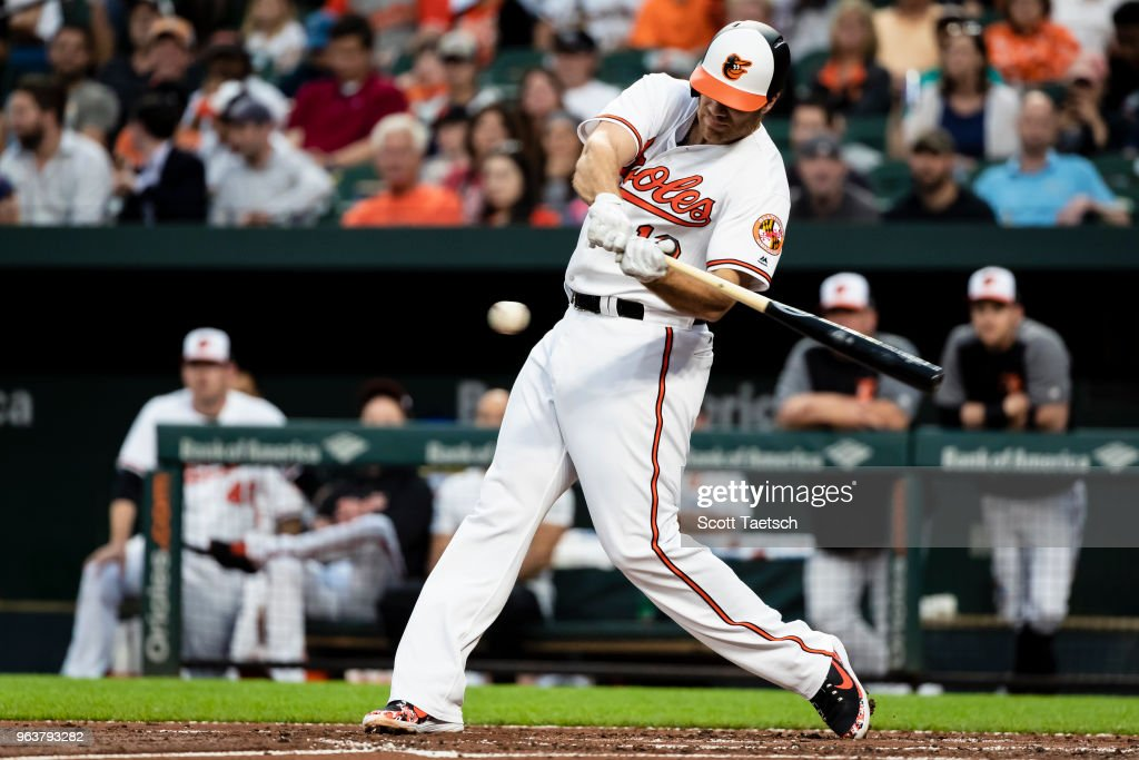 Chris Davis #19 of the Baltimore Orioles singles against the Washington Nationals during the second inning at Oriole Park at Camden Yards on May 30, 2018 in Baltimore, Maryland.