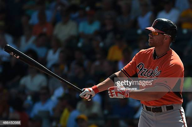 Chris Davis of the Baltimore Orioles waits for a pitch during a spring training game against the Pittsburgh Pirates at McKechnie Field on March 15...