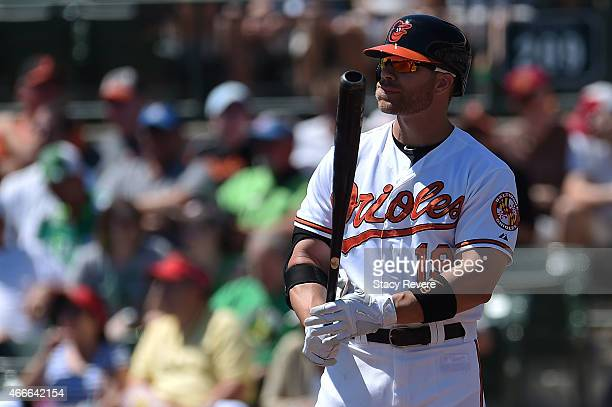 Chris Davis of the Baltimore Orioles waits for a pitch during a spring training game against the Minnesota Twins at Ed Smith Stadium on March 17 2015...