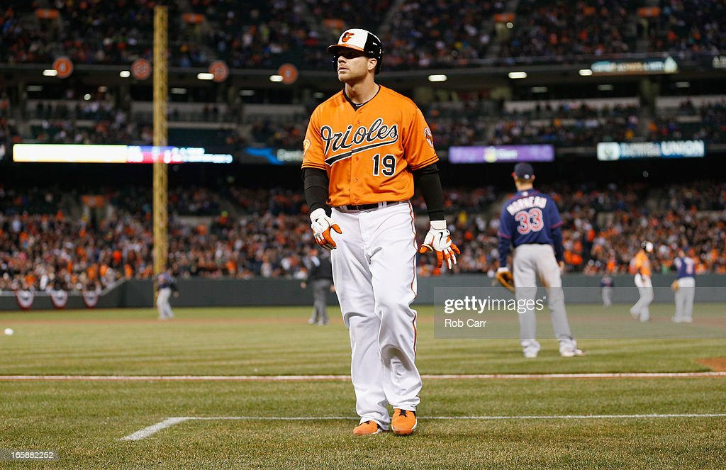 Chris Davis #19 of the Baltimore Orioles walks back to the dugout after flying out against the Minnesota Twins during the fifth inning at Oriole Park at Camden Yards on April 6, 2013 in Baltimore, Maryland.