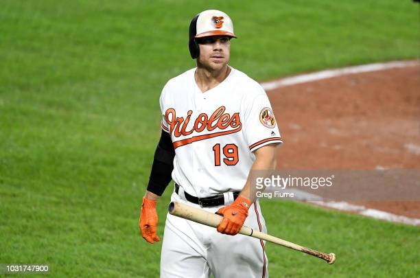 Chris Davis of the Baltimore Orioles walks to the dugout after striking out in the seventh inning against the Oakland Athletics at Oriole Park at...