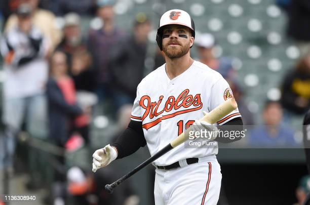 Chris Davis of the Baltimore Orioles walks to the dugout after striking out in the eighth inning against the Oakland Athletics at Oriole Park at...