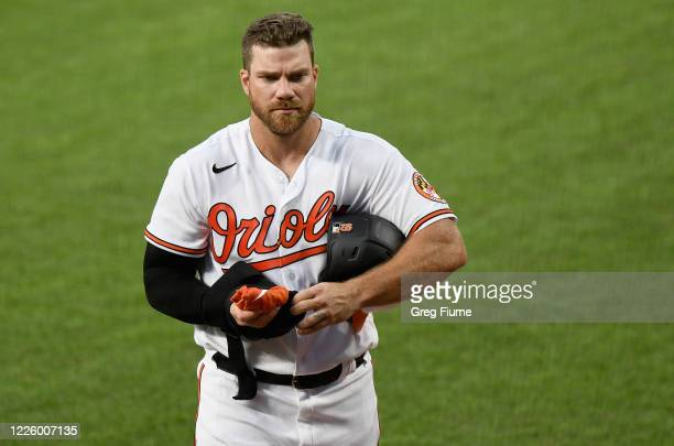 Chris Davis of the Baltimore Orioles walks to the dugout during an intrasquad game at Oriole Park at Camden Yards on July 9, 2020 in Baltimore,...