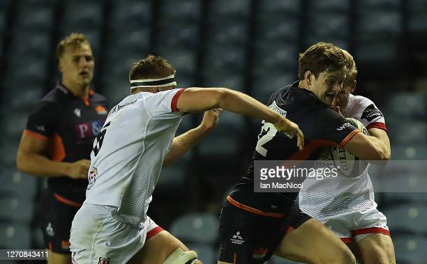 Chris Dean of Edinburgh Rugby breaks through to score his side's third try during the Guinness PRO14 PlayOff Semi Final between Edinburgh and Ulster...