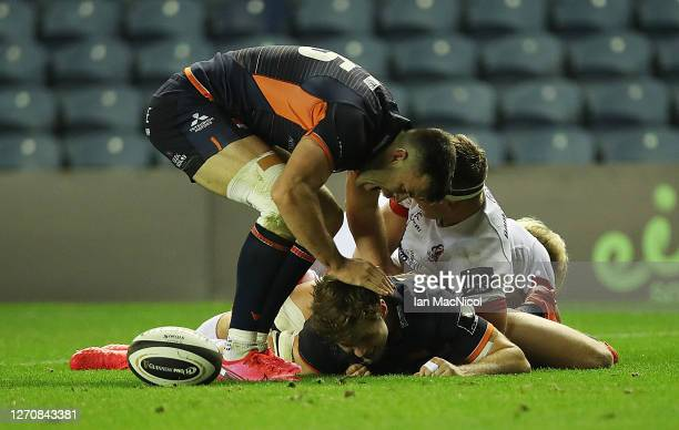 Chris Dean of Edinburgh Rugby is congratulated after he scores his side's third try during the Guinness PRO14 PlayOff Semi Final between Edinburgh...