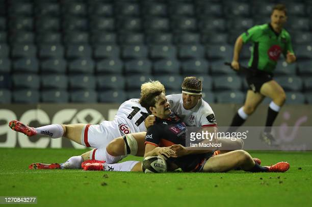 Chris Dean of Edinburgh Rugby scores his side's third try during the Guinness PRO14 PlayOff Semi Final between Edinburgh and Ulster at Murrayfield on...