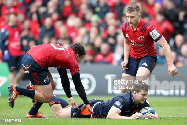 Chris Dean of Edinburgh touches down for his teams first try during the Champions Cup Quarter Final match between Edinburgh Rugby and Munster Rugby...