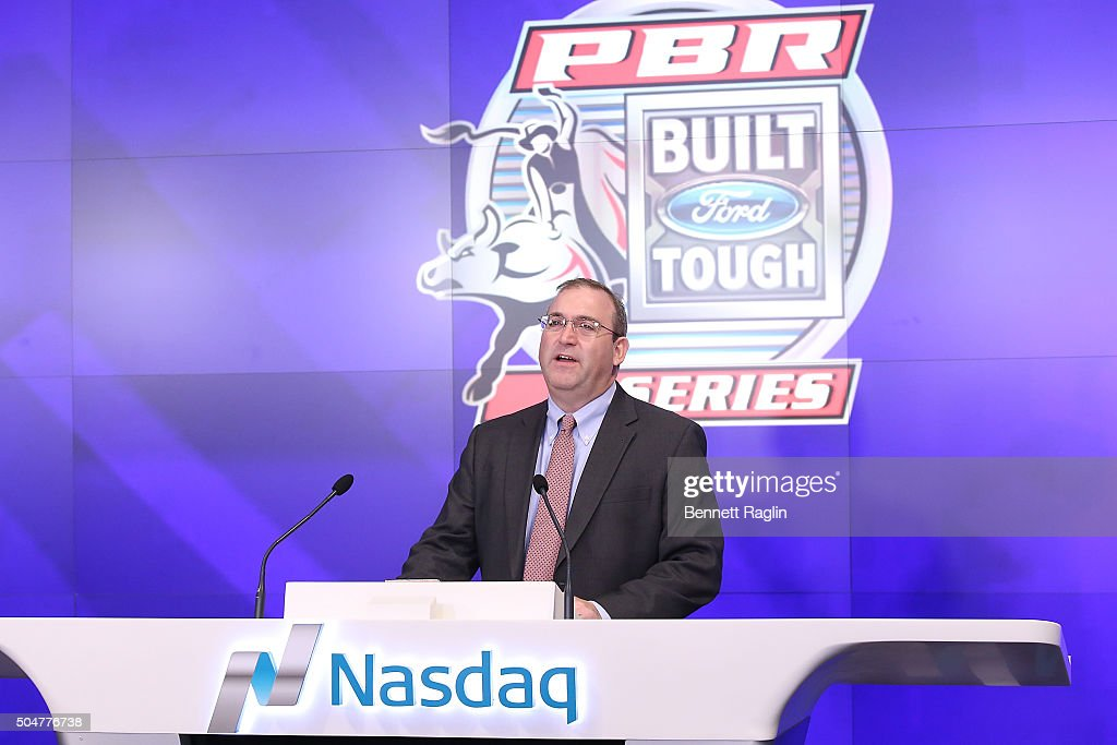 Professional Bull Riders (PBR) Ring The Nasdaq Stock Market Opening Bell : News Photo