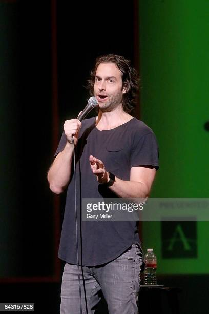 Chris D'elia performs in concert during the Harvey Relief Benefit Comedy Helps 100% of ALL proceeds including ticket concession and merchandise sales...