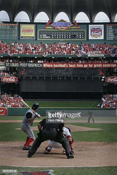 Chris Denorfia strikes out as the final batter of the final regular season game at Busch Stadium on October 2 2005 in St Louis Missouri Following the...