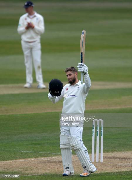 Chris Dent of Gloucestershire celebrates his century during the Specsavers County Championship Division Two match between Gloucestershire and Durham...