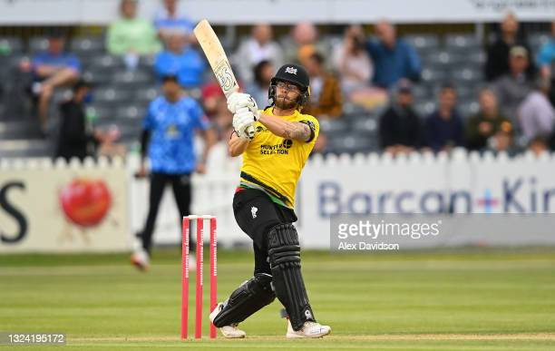 Chris Dent of Gloucestershire hits runs during the Vitality T20 Blast match between Gloucestershire and Sussex Sharks at Bristol County Ground on...