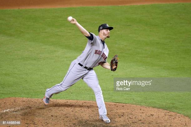 Chris Devenski of the Houston Astros and the American League delivers the pitch during the 88th MLB AllStar Game at Marlins Park on July 11 2017 in...