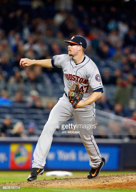 Chris Devenski of the Houston Astros in action against the New York Yankees at Yankee Stadium on May 11 2017 in the Bronx borough of New York City...