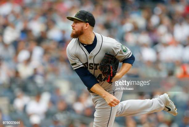 Chris Devenski of the Houston Astros in action against the New York Yankees at Yankee Stadium on May 28 2018 in the Bronx borough of New York City...