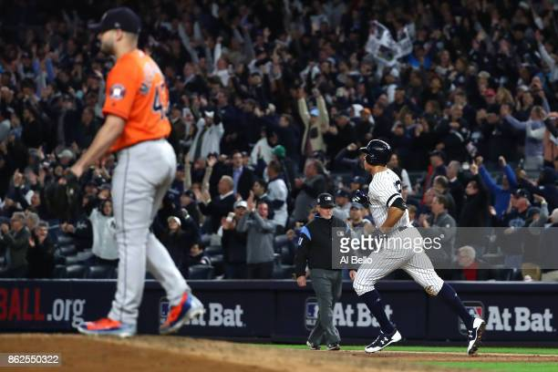 Chris Devenski of the Houston Astros looks on after a solo home run by Aaron Judge of the New York Yankees during the seventh inning in Game Four of...