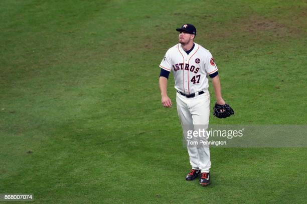 Chris Devenski of the Houston Astros looks on during the ninth inning against the Los Angeles Dodgers in game five of the 2017 World Series at Minute...