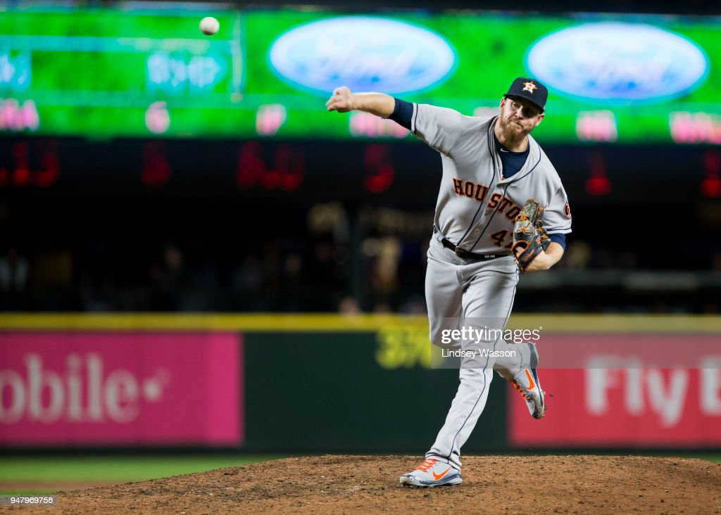 Chris Devenski #47 of the Houston Astros pitches against the Seattle Mariners in the ninth inning at Safeco Field on April 17, 2018 in Seattle, Washington. The Houston Astros won 4-1.