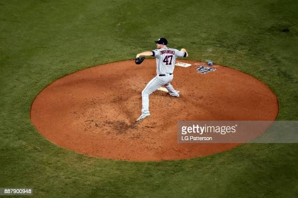 Chris Devenski of the Houston Astros pitches during Game 1 of the 2017 World Series against the Los Angeles Dodgers at Dodger Stadium on Tuesday...
