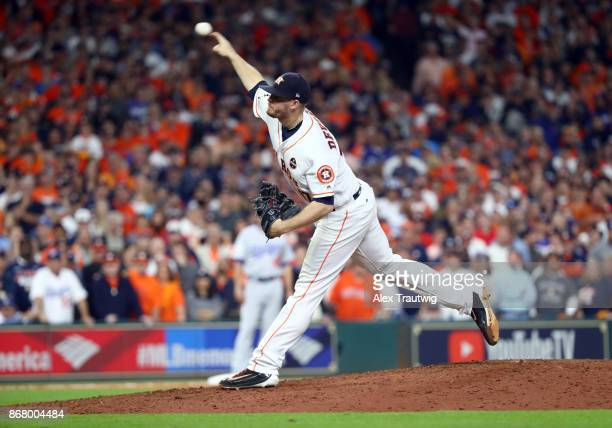 Chris Devenski of the Houston Astros pitches during Game 5 of the 2017 World Series against the Los Angeles Dodgers at Minute Maid Park on Sunday...
