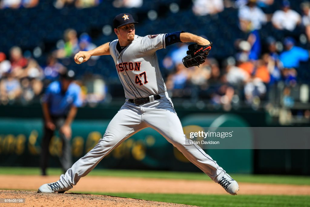 Chris Devenski #47 of the Houston Astros pitches during the ninth inning against the Kansas City Royals at Kauffman Stadium on June 16, 2018 in Kansas City, Missouri.