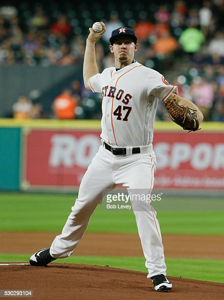 Chris Devenski of the Houston Astros pitches in the first inning against the Cleveland Indians at Minute Maid Park on May 10 2016 in Houston Texas