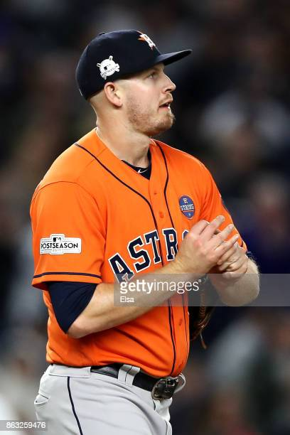 Chris Devenski of the Houston Astros pitches in the seventh inning against the New York Yankees during Game Four of the American League Championship...