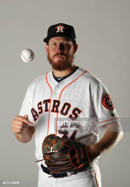 Chris Devenski of the Houston Astros poses for a portrait at The Ballpark of the Palm Beaches on February 21 2018 in West Palm Beach Florida
