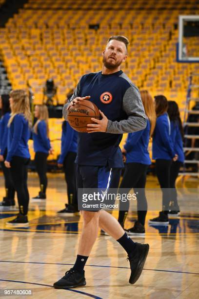 Chris Devenski warms up on the court before the game between the Boston Celtics and Golden State Warriors in Game Five of the Western Conference...