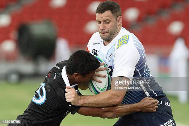 Chris Dicomidis of Cardiff Blues charges forward during the World Club 10s match between Samoa Water President's 10 and Cardiff Blues at the National...