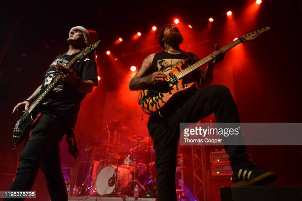 Chris Dillinger bass and Taylor Steele guitarist perform with Lola Black at the Gothic Theatre on December 21 2019 in Englewood Colorado