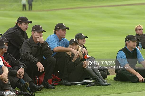 Chris DiMarco JJ Henry Scott Verplank Phil and Amy Mickelson and David and Sonya Toms watching on No 18 during Round 2 afternoon Foursome matches the...