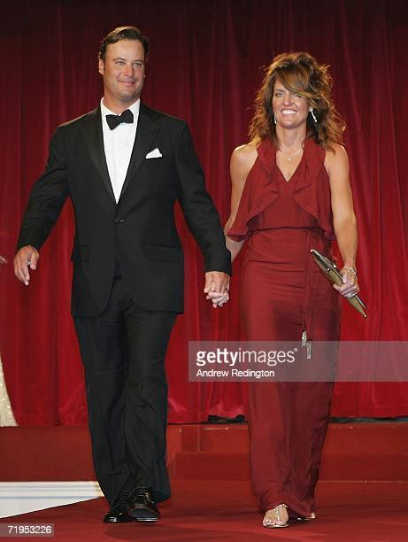 Chris DiMarco of USA and wife Amy walk down the catwalk during the Ryder Cup Gala Dinner at Citywest Hotel and Golf Resort September 20 2006 in...