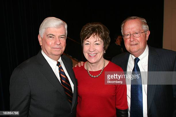 Chris Dodd chairman and chief executive officer of the Motion Picture Association of America Inc from left Senator Susan Collins a Republican from...